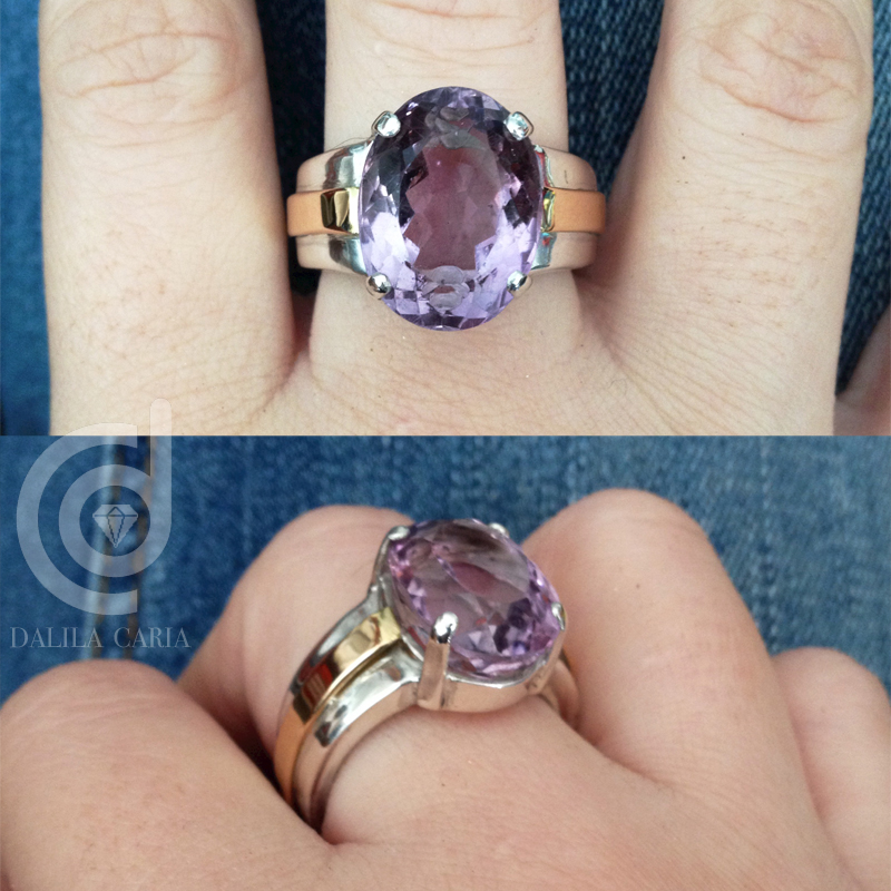 Amethyst, silver and gold ring