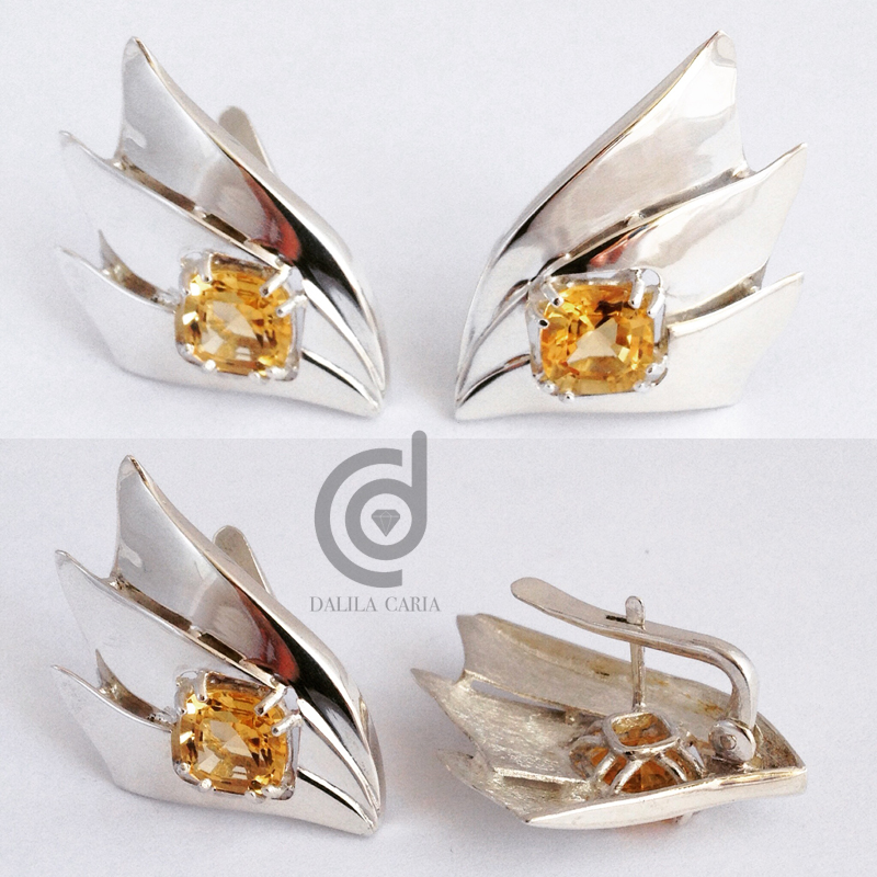 Silver earrings with yellow topaz