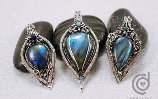 3 labradorite pendants