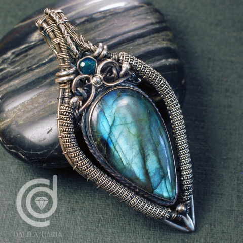Silver and labradorite pendant