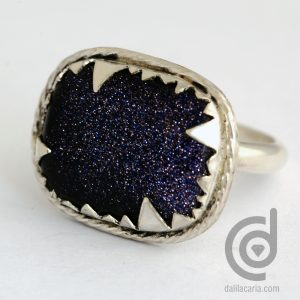 Silver ring with blue glodstone