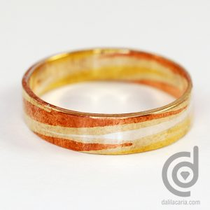 Mokume Gane ring in silver, copper and brass