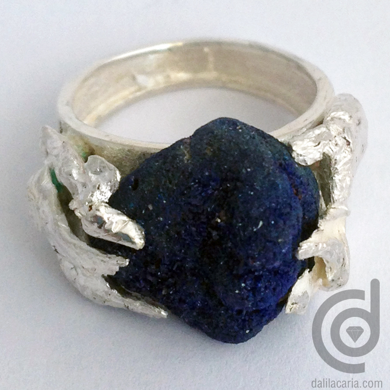 Silver ring with rough azurite