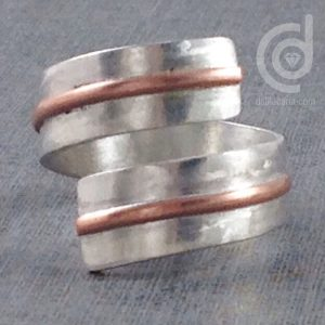 Silver ring with copper detail