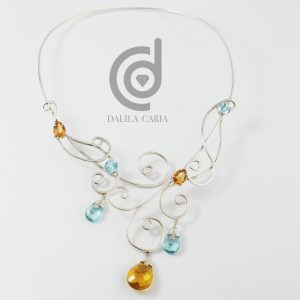 Topaz and silver choker