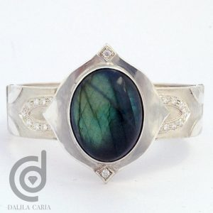 Hinged silver cuff with labradorite